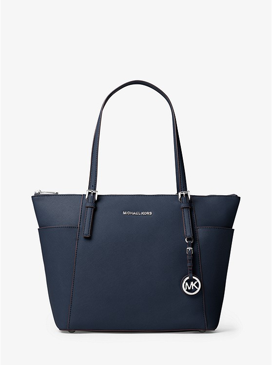 Jet Set Large Top-Zip Saffiano Leather Tote ...