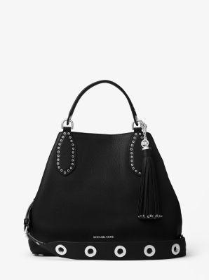 michael kors black bag silver chain mk bag satchel
