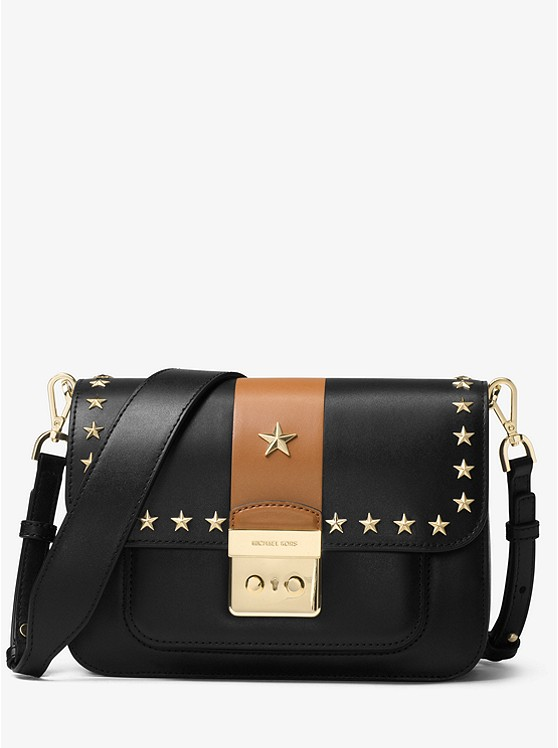 Sloan Editor Studded Leather Shoulder Bag