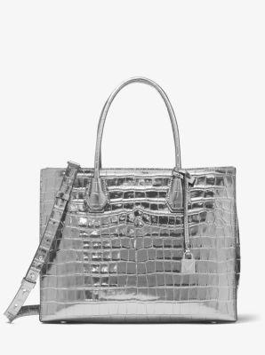 5ae77b05e78a4b Mercer Metallic Crocodile-Embossed Leather Tote Bag | Michael Kors