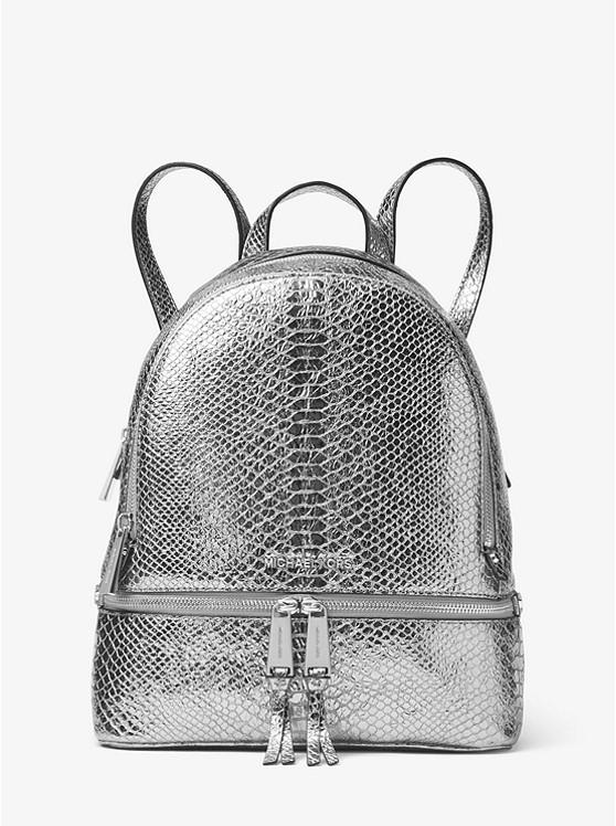 f6818d9f2dc8 Rhea Metallic Embossed-Leather Backpack. Image result for michael kors logo