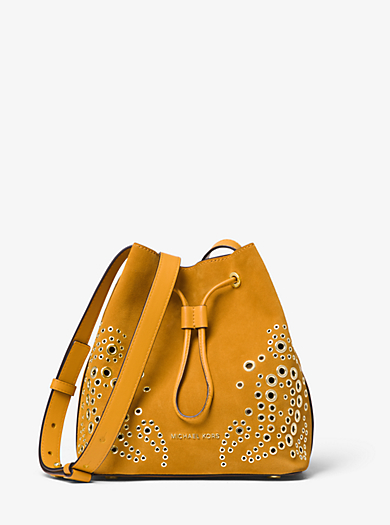 a358259501 Cary Small Grommeted Suede Bucket Bag
