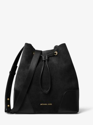 47a030e47 Cary Medium Suede and Leather Bucket Bag | Michael Kors