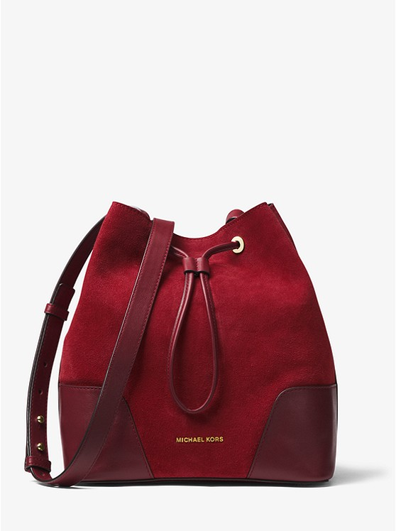 c8ab5761fc1 Cary Medium Suede And Leather Bucket Bag   Michael Kors