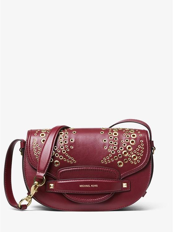 b7d367af9ed6 Cary Medium Grommeted Leather Saddle Bag | Michael Kors