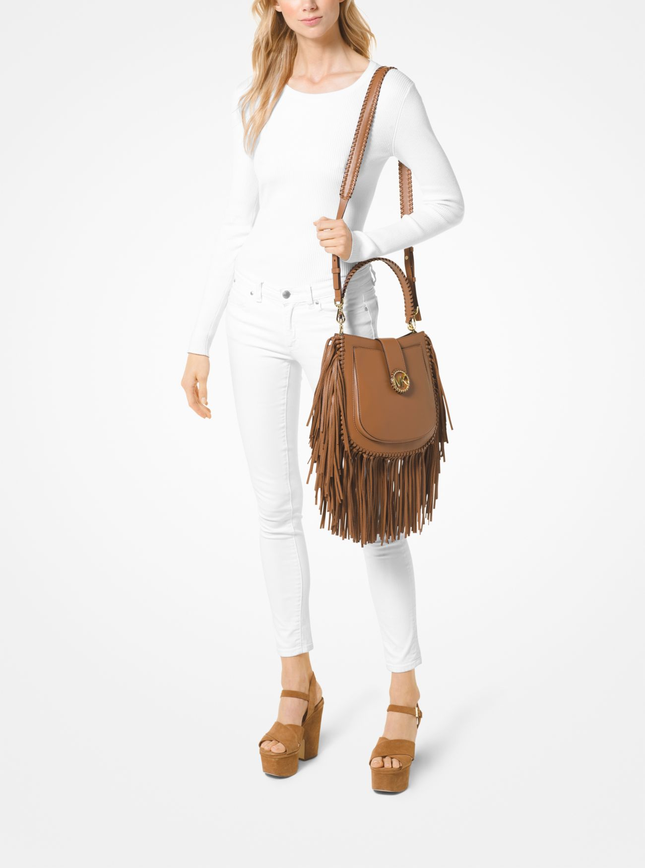 297a3ca3e8ec ... Lillie Medium Fringed Leather Shoulder Bag Lillie Medium Fringed Leather  Shoulder Bag. MICHAEL Michael Kors