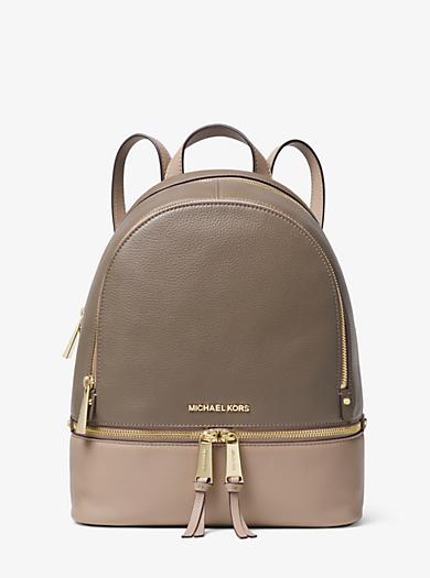 Rhea Medium Color Block Pebbled Leather Backpack Michael Kors