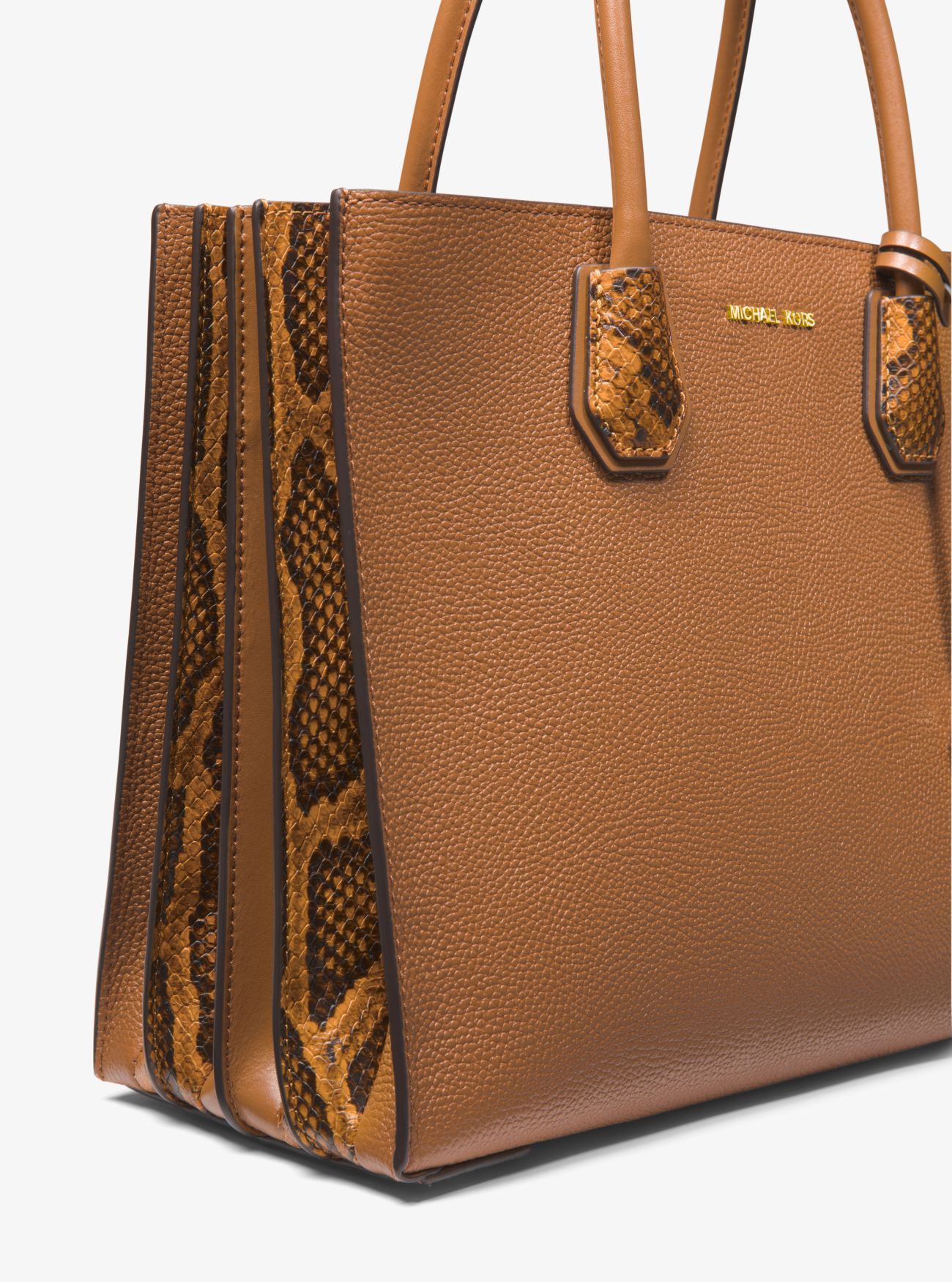 9486d24019 ... Mercer Large Pebbled and Embossed Leather Accordion Tote. MICHAEL  Michael Kors