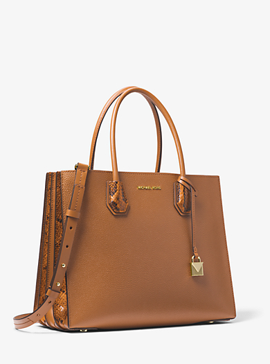 Mercer Large Pebbled And Embossed Leather Accordion Tote