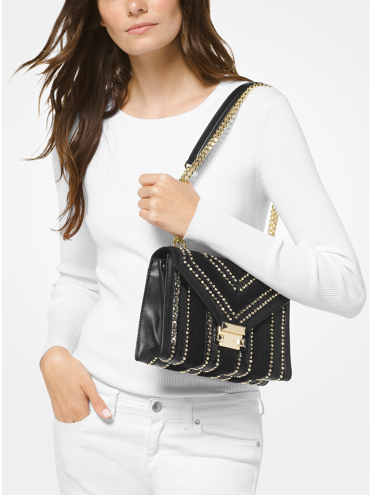 c08026767ecb Michael Kors Whitney Large Mixed-Media Convertible Shoulder Bag at ...