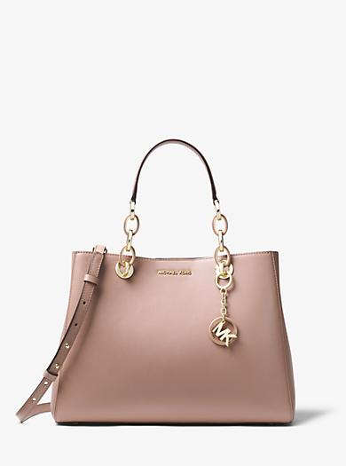 cynthia medium leather satchel michael kors rh michaelkors com