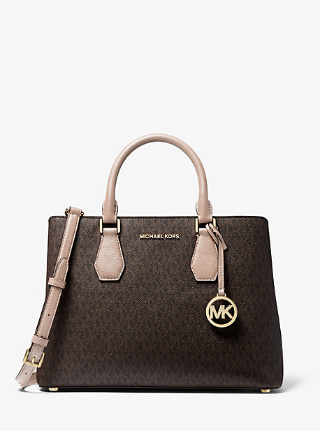Camille Large Logo and Leather Satchel
