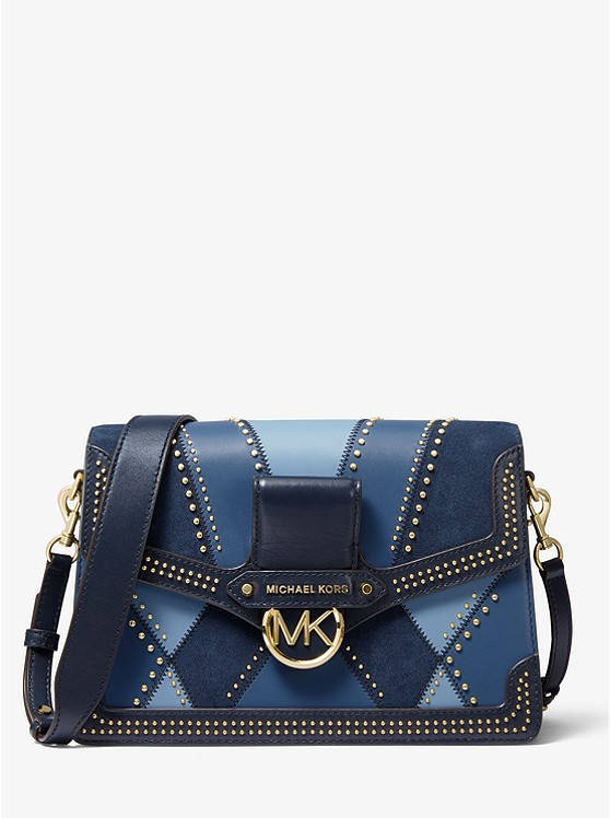 Jessie Large Suede And Leather Patchwork Shoulder Bag by Michael Michael Kors
