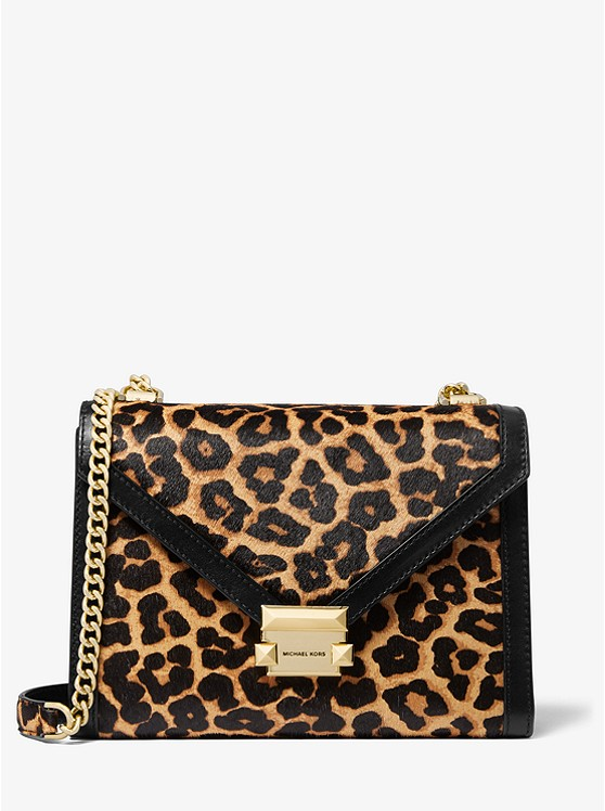 Whitney Large Leopard Calf Hair Convertible Shoulder Bag