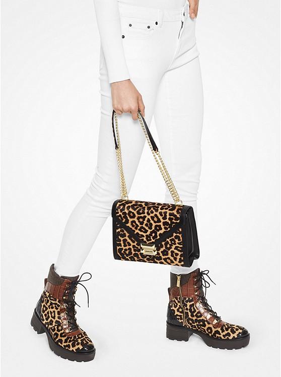 Whitney Large Leopard Calf Hair Convertible Shoulder Bag