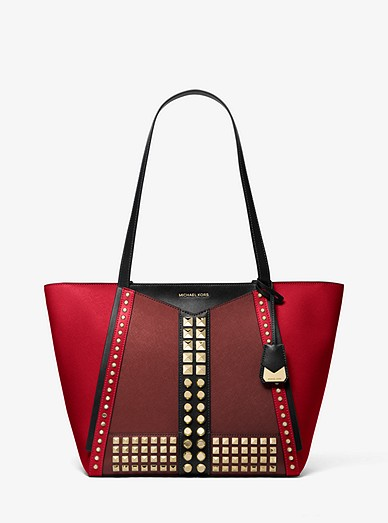 Whitney Large Studded Saffiano Leather Tote Bag Michael Kors
