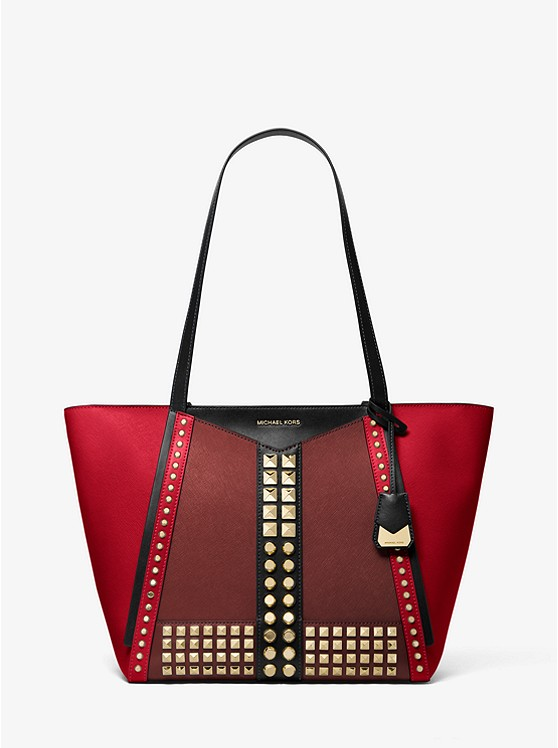 Whitney Large Studded Saffiano Leather Tote Bag