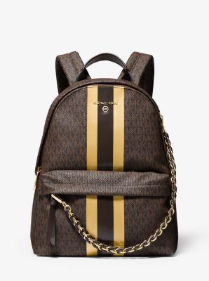 마이클 마이클 코어스 Michael Michael Kors Slater Medium Logo Metallic Stripe Backpack,BRN/GOLD