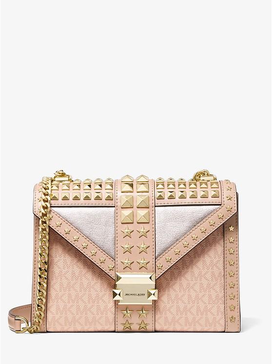 Whitney Large Star Embellished Logo and Leather Convertible Shoulder Bag BALLET