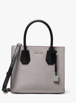 마이클 마이클 코어스 Michael Michael Kors Mercer Medium Color-Block Saffiano Leather Accordion Crossbody Bag,PGRY/OPT/BLK