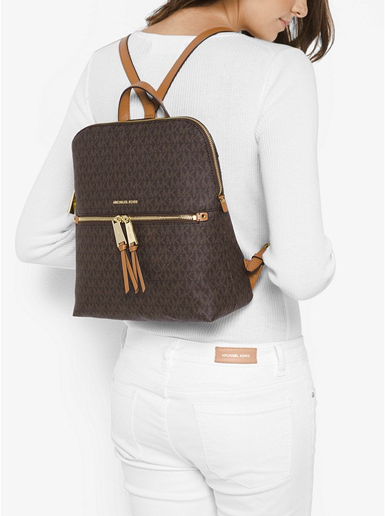 d88835536ac8e ... leather backpack cd96d 5d564  italy rhea medium slim logo backpack. michael  michael kors c8847 255d5