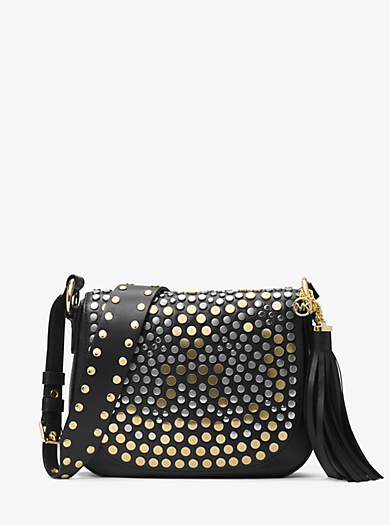 Brooklyn Medium Studded Leather Saddlebag \u0026middot; michael michael kors ...
