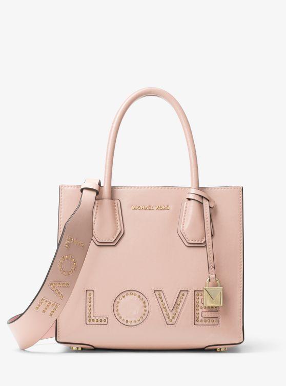 Love Studded Leather Shoulder Strap