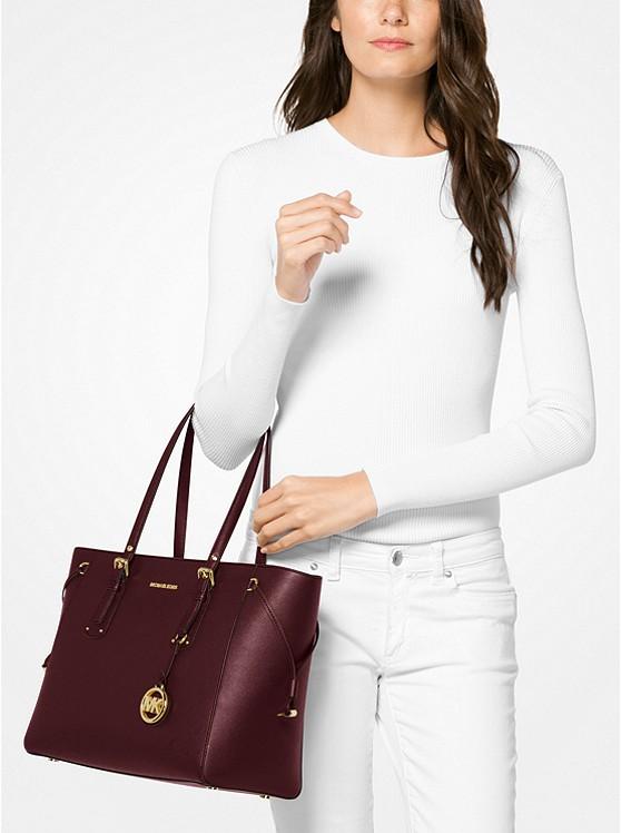 b9150cd4f99a Voyager Medium Crossgrain Leather Tote Bag   Michael Kors