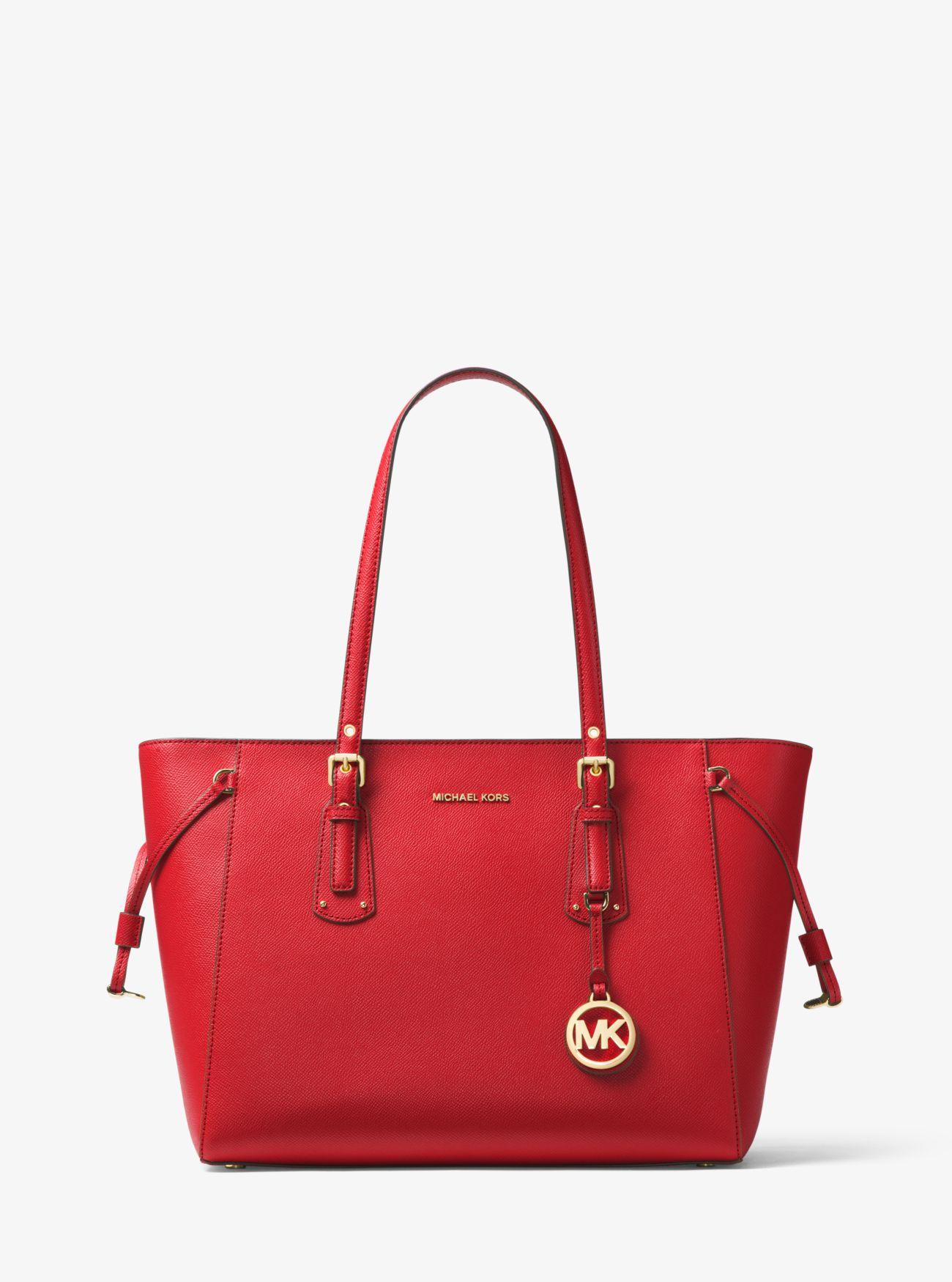 Voyager Medium Crossgrain Leather Tote Bag | Michael Kors