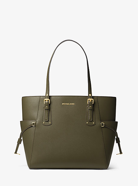 Voyager Small Crossgrain Leather Tote Bag