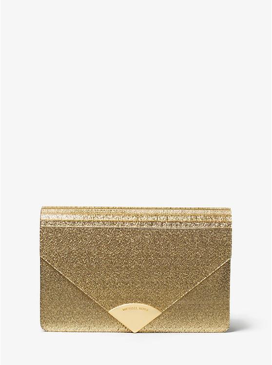 Barbara Medium Envelope Clutch Bag in Silver Metallic Leather Michael Michael Kors lFeyzBg