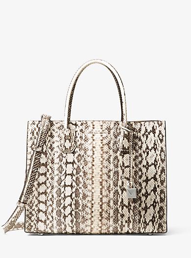 3af74426730e Mercer Large Snakeskin Tote Bag | Michael Kors
