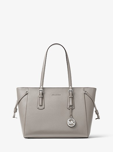 e6016b5aea16e6 Voyager Medium Crossgrain Leather Tote Bag | Michael Kors