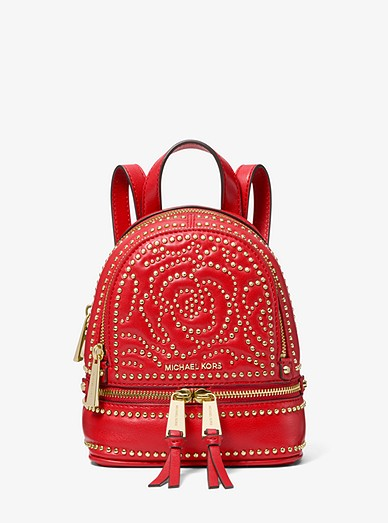 e45553055eb1 Rhea Mini Rose Studded Leather Backpack   Michael Kors