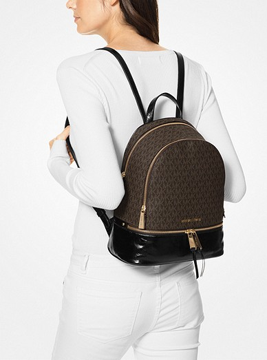 bccdebe7e92b7f Rhea Medium Logo and Leather Backpack. MICHAEL Michael Kors