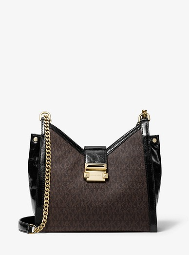 b18f5ab2ff2a Whitney Small Logo And Leather Shoulder Bag | Michael Kors
