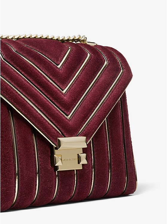 00a33b98170d Whitney Large Quilted Suede Convertible Shoulder Bag