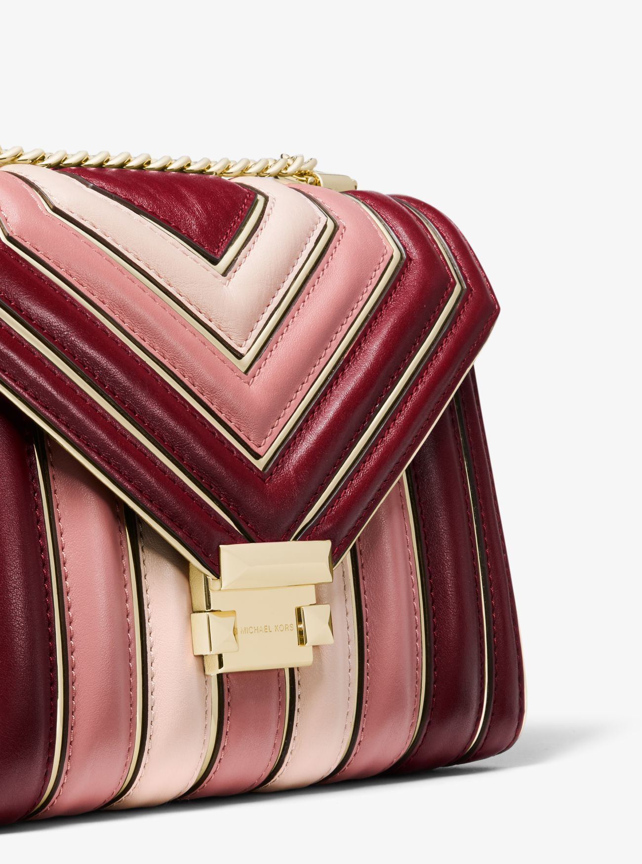 80eae420df9d ... Whitney Large Quilted Tri-Color Leather Convertible Shoulder Bag. MICHAEL  Michael Kors