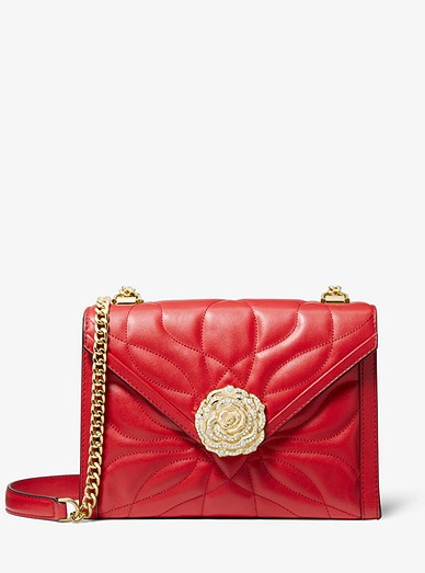 a6122222e9d1 Whitney Large Petal Quilted Leather Convertible Shoulder Bag ...