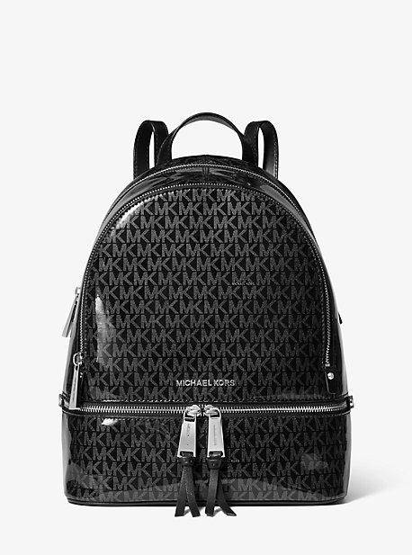 5bc76b024b914c Rhea Medium Glossy Signature Backpack | Michael Kors