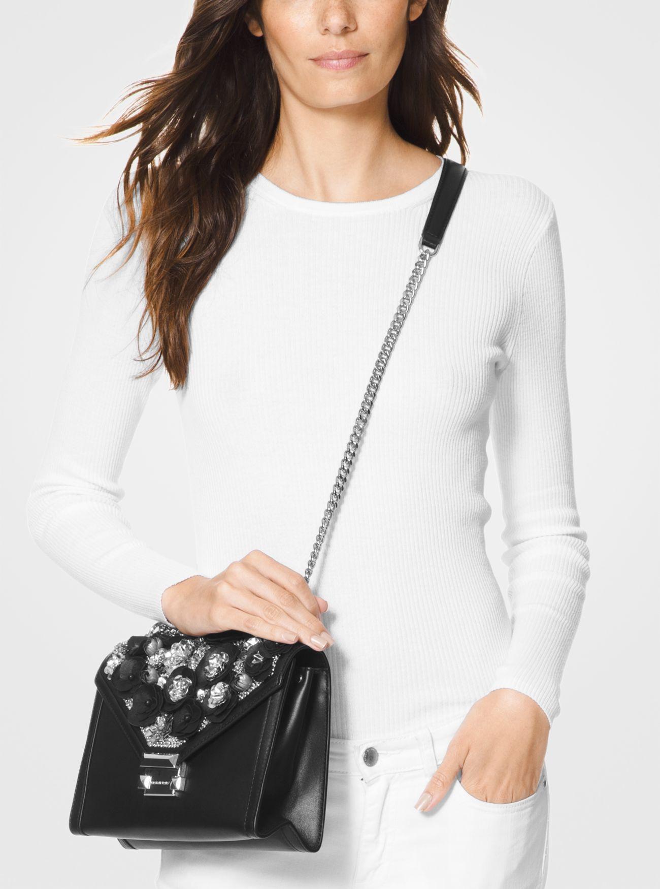 6da5bd64d7a3 ... Large Floral Embellished Leather Convertible Shoulder Bag Whitney Large  Floral Embellished Leather Convertible Shoulder Bag. MICHAEL Michael Kors