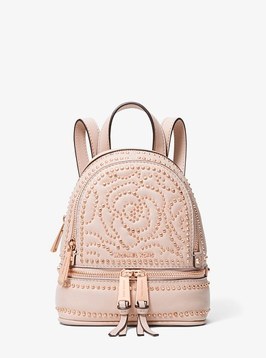 285d79b30aba Rhea Mini Rose Studded Leather Backpack | Michael Kors