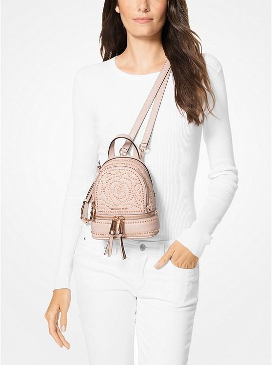 49c353a9f887 Rhea Mini Rose Studded Leather Backpack | Michael Kors