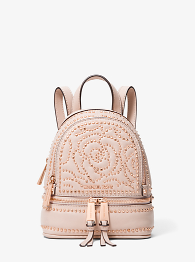 Rhea Mini Rose Studded Leather Backpack
