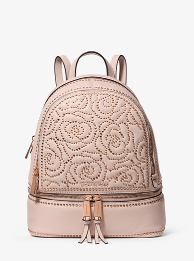 236b414af6da Rhea Medium Rose Studded Leather Backpack | Michael Kors