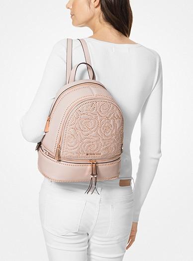 19863cfdb040 Rhea Medium Rose Studded Leather Backpack   Michael Kors