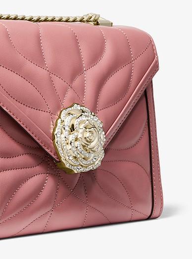 7b411e17ea4b6 Whitney Large Petal Quilted Leather Convertible Shoulder Bag. MICHAEL  Michael Kors