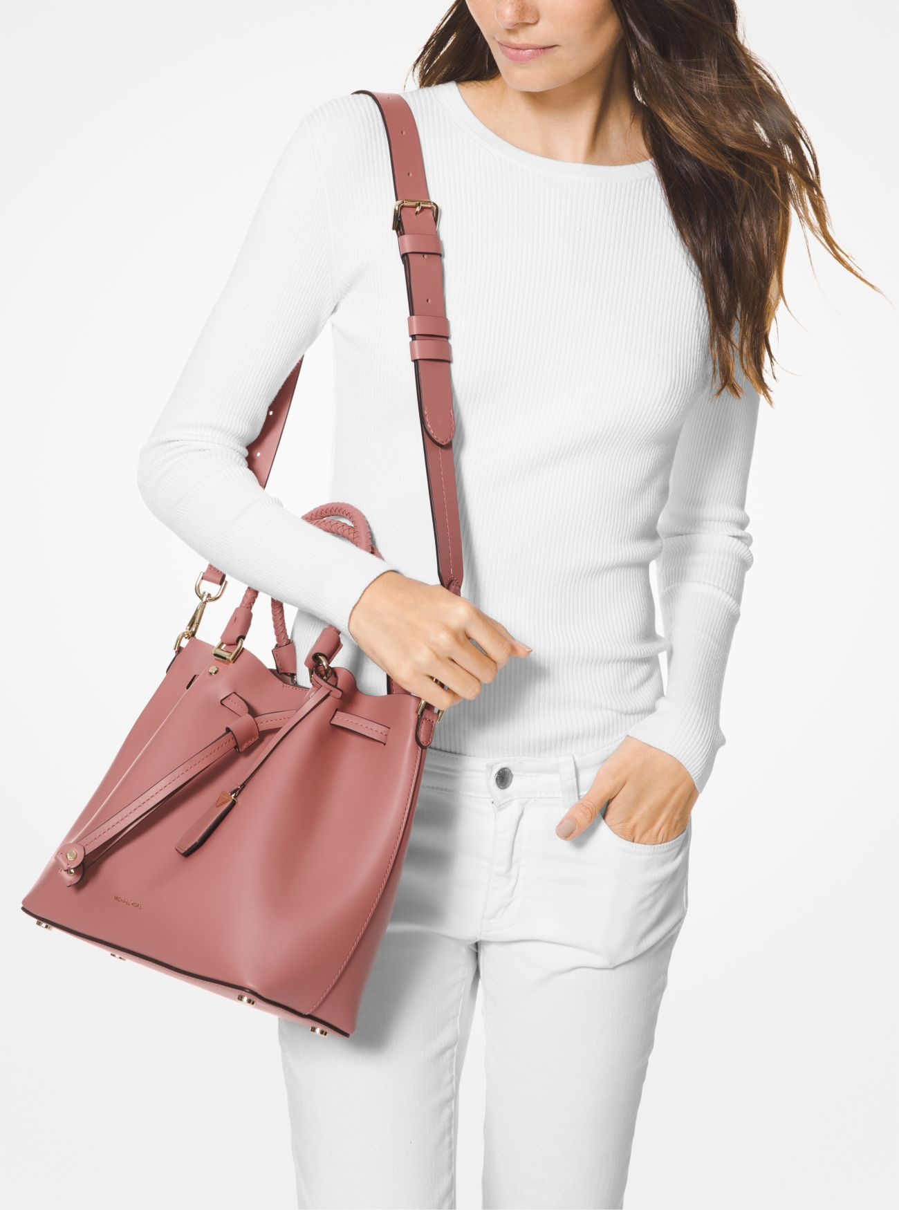 8880e74cd60be ... Blakely Medium Leather Bucket Bag