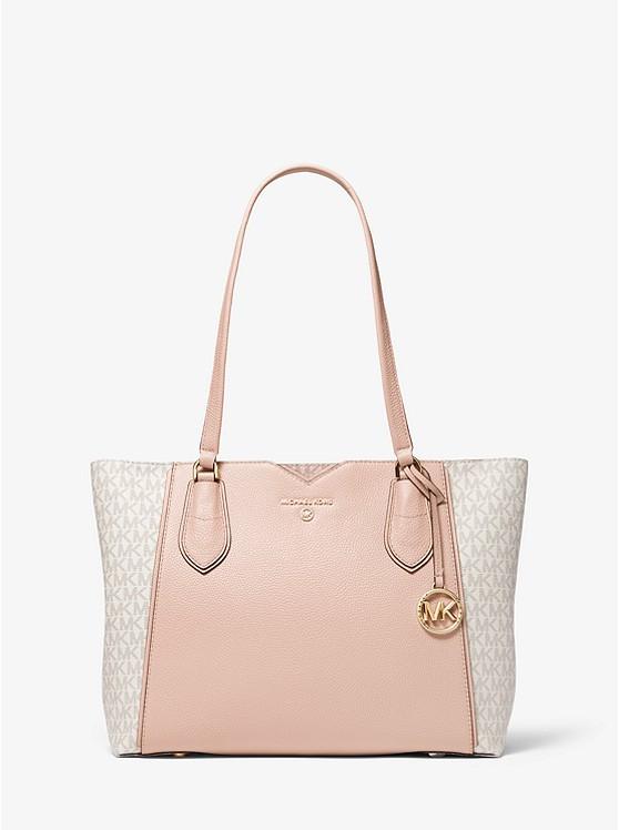 Mae Medium Pebbled Leather and Logo Tote Bag