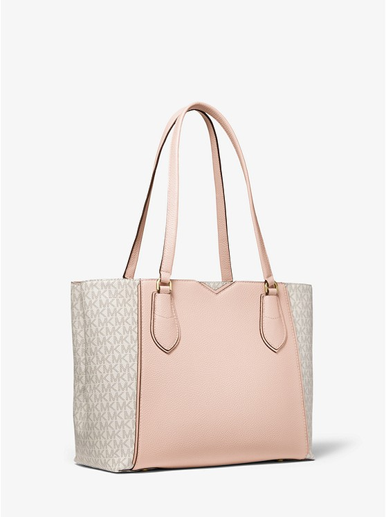 Mae Medium Pebbled Leather and Logo Tote Bag